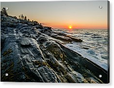 Sun Breaks At Pemaquid Point Acrylic Print by At Lands End Photography