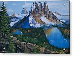 Acrylic Print featuring the painting Sun Burst Peak by Sharon Duguay