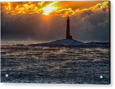 Sun Climbing Over Thacher Island Lighthouse Acrylic Print by Jeff Folger