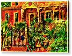 Acrylic Print featuring the painting Sun Dial House by Ted Azriel