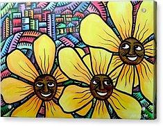 Sun Flowers And Friends Sf 2 2009 Acrylic Print