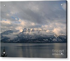 Sun On The Mountains Acrylic Print by Leone Lund