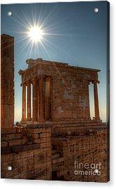 Sun Over Athena Nike Temple Acrylic Print by Deborah Smolinske
