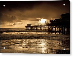 Sun Over The Pier Acrylic Print by Steven Reed