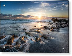Sun Rays On The Ocean Acrylic Print by Debra and Dave Vanderlaan