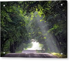 Sun Rays On Waters End Road Acrylic Print by David T Wilkinson