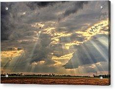 Sun Rays Over A Field Acrylic Print