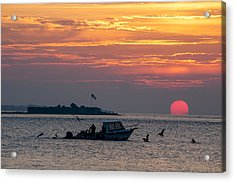 Sun Rise Over Fort Sumter Acrylic Print by Allen Carroll