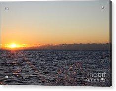 Sun Rising Through Clouds In Rough Waters Acrylic Print by John Telfer
