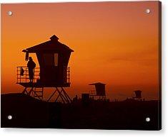 Sun Sets On Huntington Beach Acrylic Print