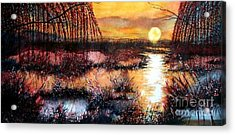 Sun Sets On The Marsh Acrylic Print by Janine Riley