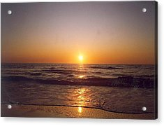 Sun Setting At Ocean Beach Acrylic Print