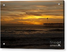 Acrylic Print featuring the photograph Sun Setting Behind Santa Cruz With Ventura Pier 01-10-2010 by Ian Donley