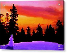 Acrylic Print featuring the painting Sun Setting On Snow by Sophia Schmierer