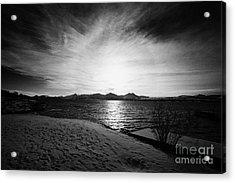 sun setting with halo over snow covered telegrafbukta beach Tromso troms Norway europe Acrylic Print by Joe Fox