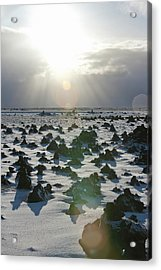 Sun Shining On A Field Of Lava Rocks Acrylic Print by Thomas Kokta