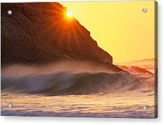 Sun Star Singing Beach Acrylic Print by Michael Hubley