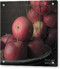 Sun Warmed Apples Still Life Square Acrylic Print by Edward Fielding