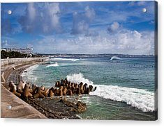 Sunabe Seawall Surf Acrylic Print by Chris Rose