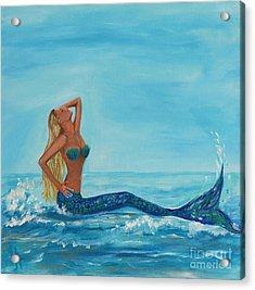 Sunbathing Mermaid Acrylic Print