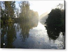 Sunbeams On Orb River By Morning Mist Acrylic Print by Sami Sarkis