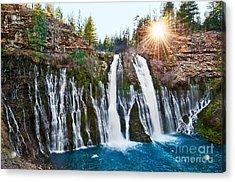 Sunburst Falls - Burney Falls Is One Of The Most Beautiful Waterfalls In California Acrylic Print by Jamie Pham