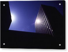 Sunburst On Building Acrylic Print by Thomas D McManus