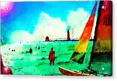 Acrylic Print featuring the painting Sunday At Grand Haven by Ted Azriel