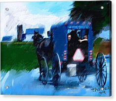 Acrylic Print featuring the painting Sunday Buggy Ride by Ted Azriel