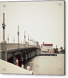 Sunday By The Bridge - Fl Acrylic Print