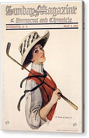 Sunday Magazine 1910s Usa Golf Womens Acrylic Print by The Advertising Archives