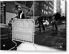 sunday morning roads closed for cyclists and walkers Santiago Chile Acrylic Print by Joe Fox