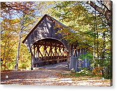 Sunday River Covered Bridge Acrylic Print by Jeff Folger