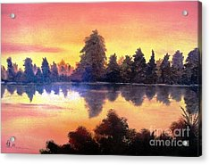 Acrylic Print featuring the painting Sundown by AmaS Art