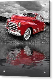 Sundown By The Lake - 1948 Red Chevy Acrylic Print by Gill Billington
