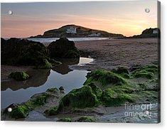 Sundown On The Beach  At Bigbury On Sea In Devon Acrylic Print
