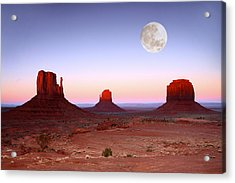 Sundown On The Buttes In Monument Valley Arizona Acrylic Print by Katrina Brown
