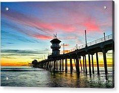 Sunet At Huntington Beach Pier Acrylic Print by Peter Dang