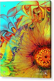 Sunflower Abstract Acrylic Print by Klara Acel