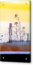 Acrylic Print featuring the painting Sunflower And Fence Post by Richard Benson