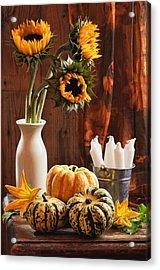 Sunflower And Gourds Still Life Acrylic Print