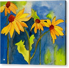 Sunflower Blue Watercolor Acrylic Print