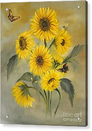 Acrylic Print featuring the painting Sunflower Bouquet by Carol Sweetwood