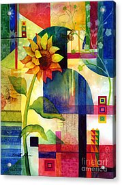 Sunflower Collage Acrylic Print by Hailey E Herrera