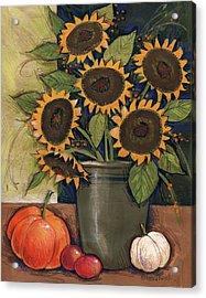 Sunflower Crock Acrylic Print by Anne Tavoletti