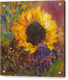 Sunflower Dance Original Painting Impressionist Acrylic Print