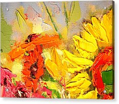 Acrylic Print featuring the painting Sunflower Detail by Ana Maria Edulescu
