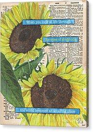 Sunflower Dictionary 2 Acrylic Print by Debbie DeWitt