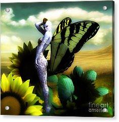 Sunflower Fairy Acrylic Print by Sandra Bauser Digital Art