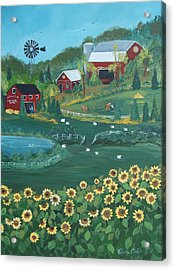 Acrylic Print featuring the painting Sunflower Farm by Virginia Coyle